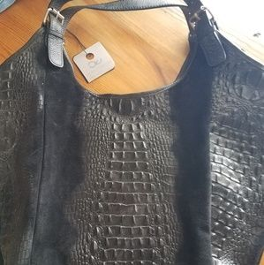 Black Croc-embossed Leather Hobo Handbag